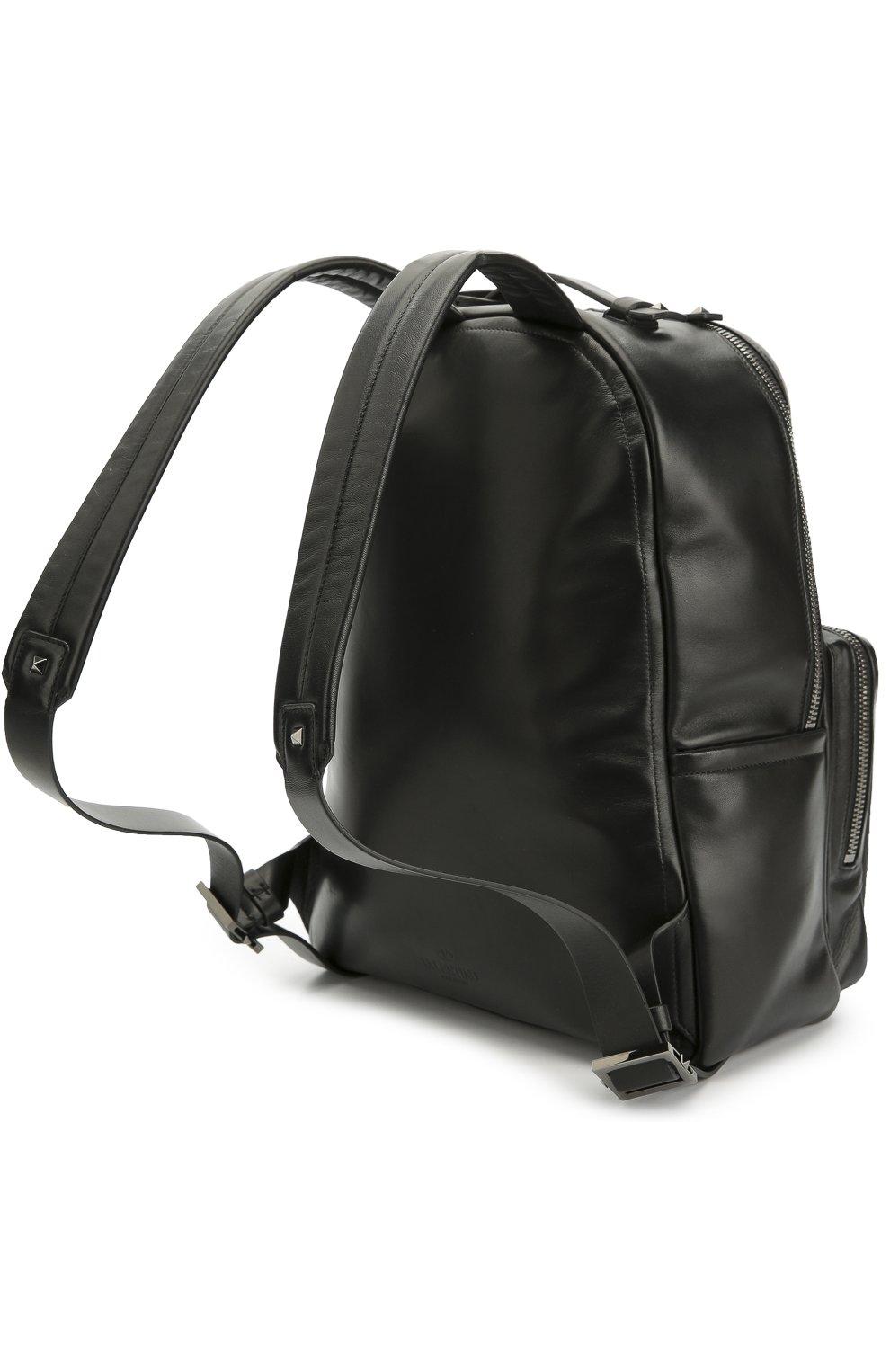Мужской черный кожаный рюкзак valentino garavani с заклепками ... c9ec65cfe83