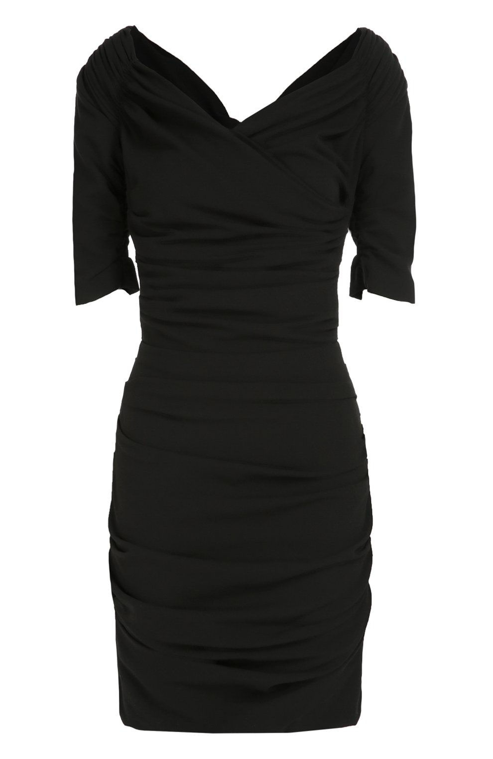 Шерстяное приталенное платье с открытыми плечами   Фото №1