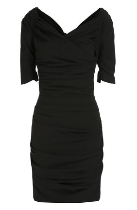 Шерстяное приталенное платье с открытыми плечами Dolce & Gabbana черное   Фото №1