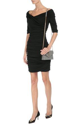 Шерстяное приталенное платье с открытыми плечами Dolce & Gabbana черное   Фото №2