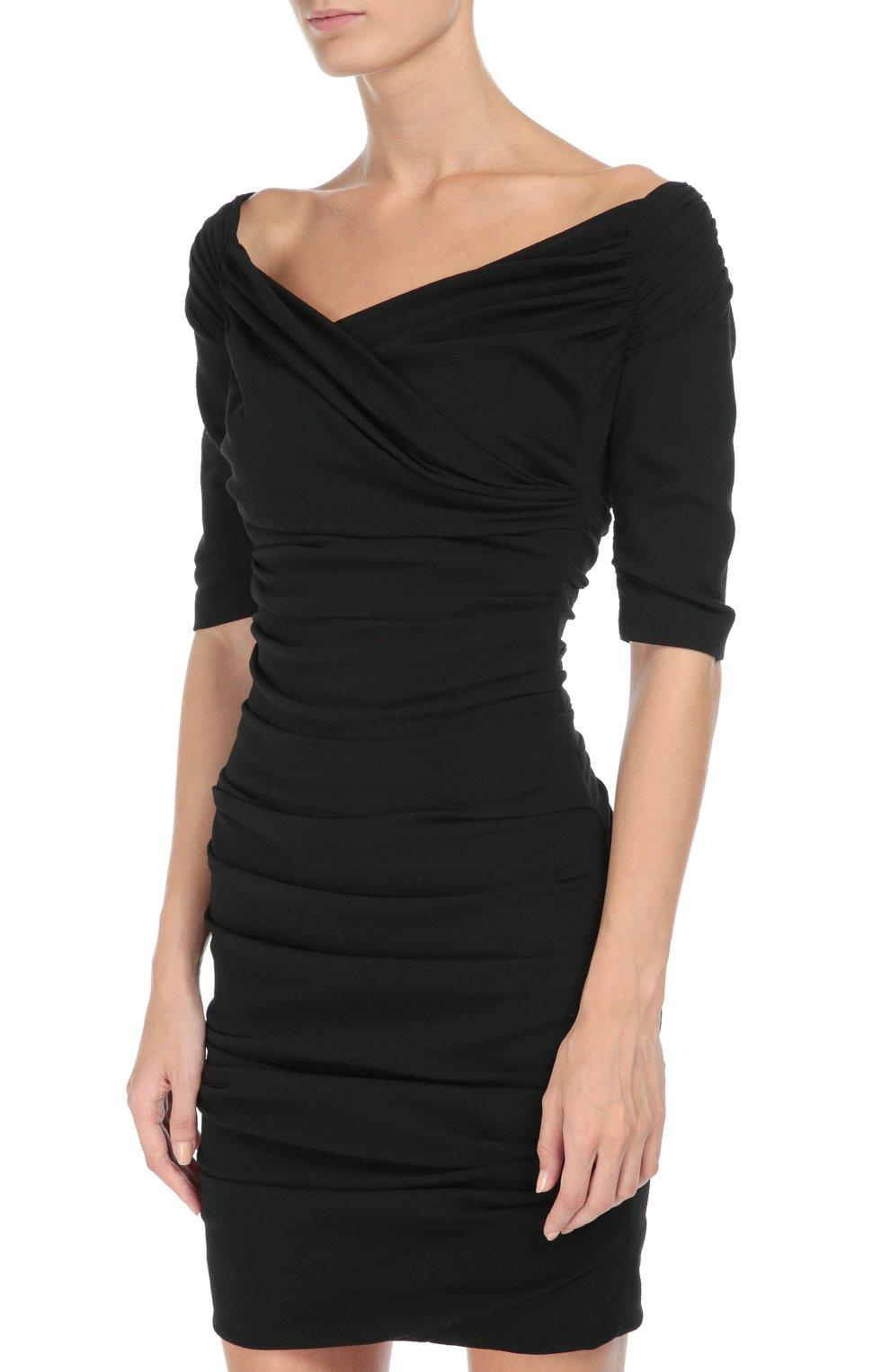Шерстяное приталенное платье с открытыми плечами Dolce & Gabbana черное   Фото №3