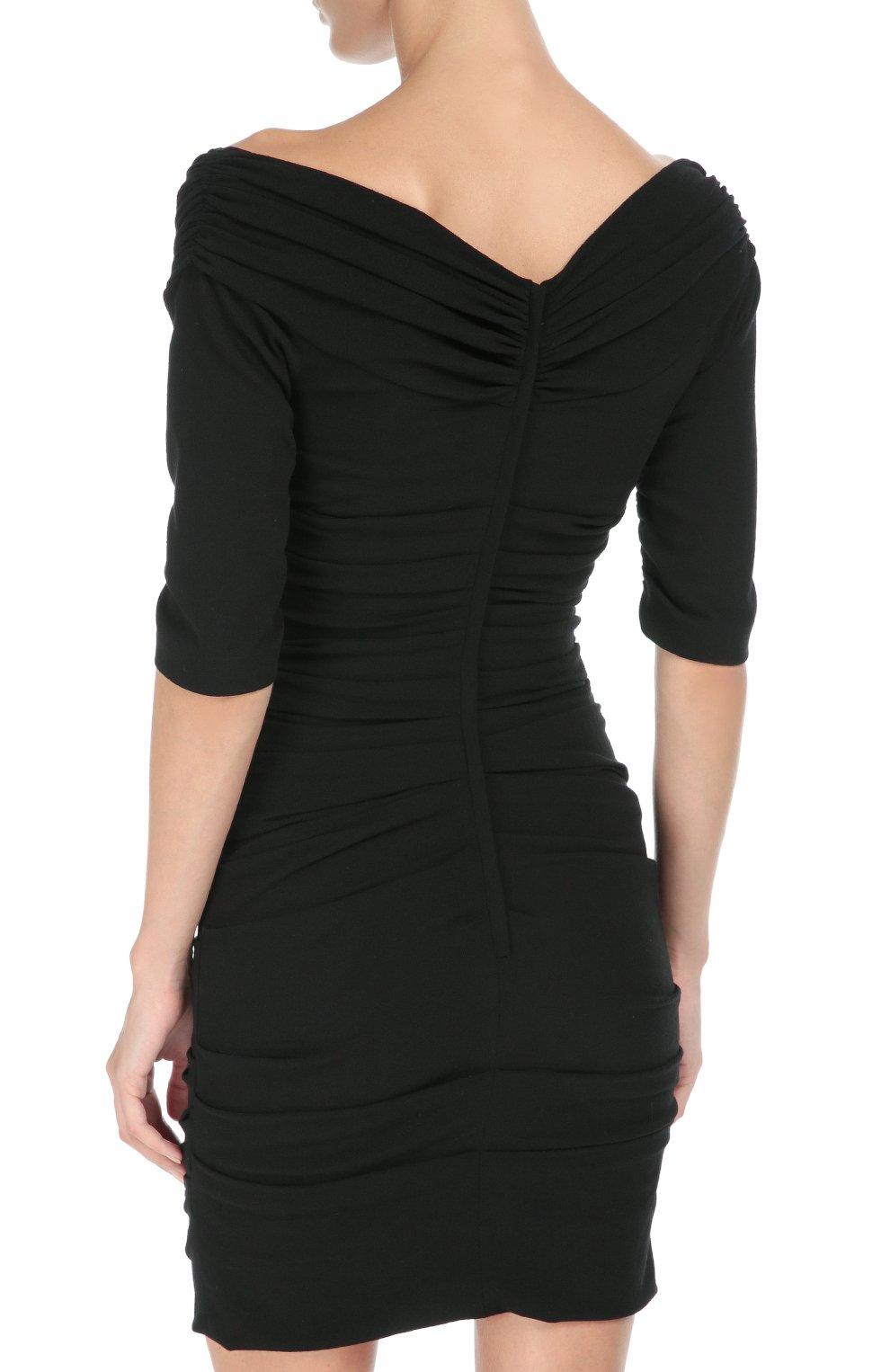 Шерстяное приталенное платье с открытыми плечами Dolce & Gabbana черное   Фото №4