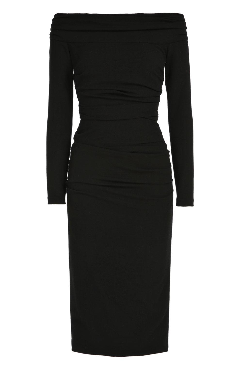 Облегающее платье-миди с открытыми плечами | Фото №1