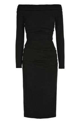 Облегающее платье-миди с открытыми плечами Dolce & Gabbana черное | Фото №1