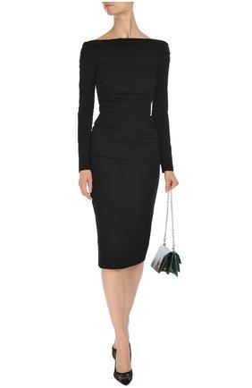 Облегающее платье-миди с открытыми плечами Dolce & Gabbana черное | Фото №2