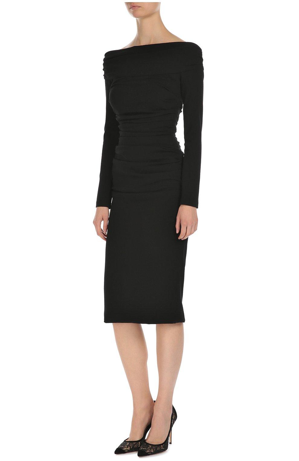 Облегающее платье-миди с открытыми плечами Dolce & Gabbana черное | Фото №3