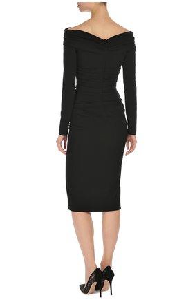 Облегающее платье-миди с открытыми плечами Dolce & Gabbana черное | Фото №4