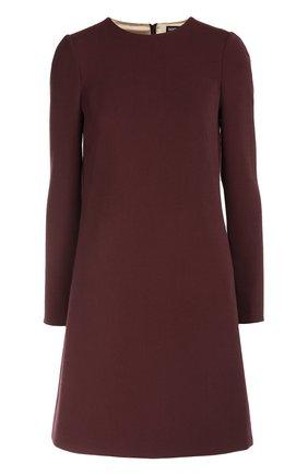 Шерстяное платье А-образного силуэта с длинными рукавами Dolce & Gabbana бордовое | Фото №1