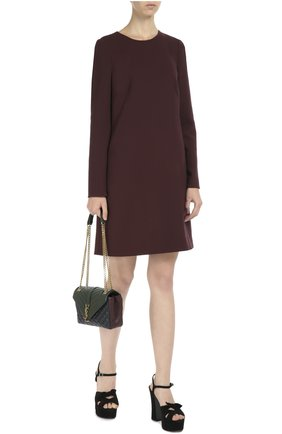 Шерстяное платье А-образного силуэта с длинными рукавами Dolce & Gabbana бордовое | Фото №2