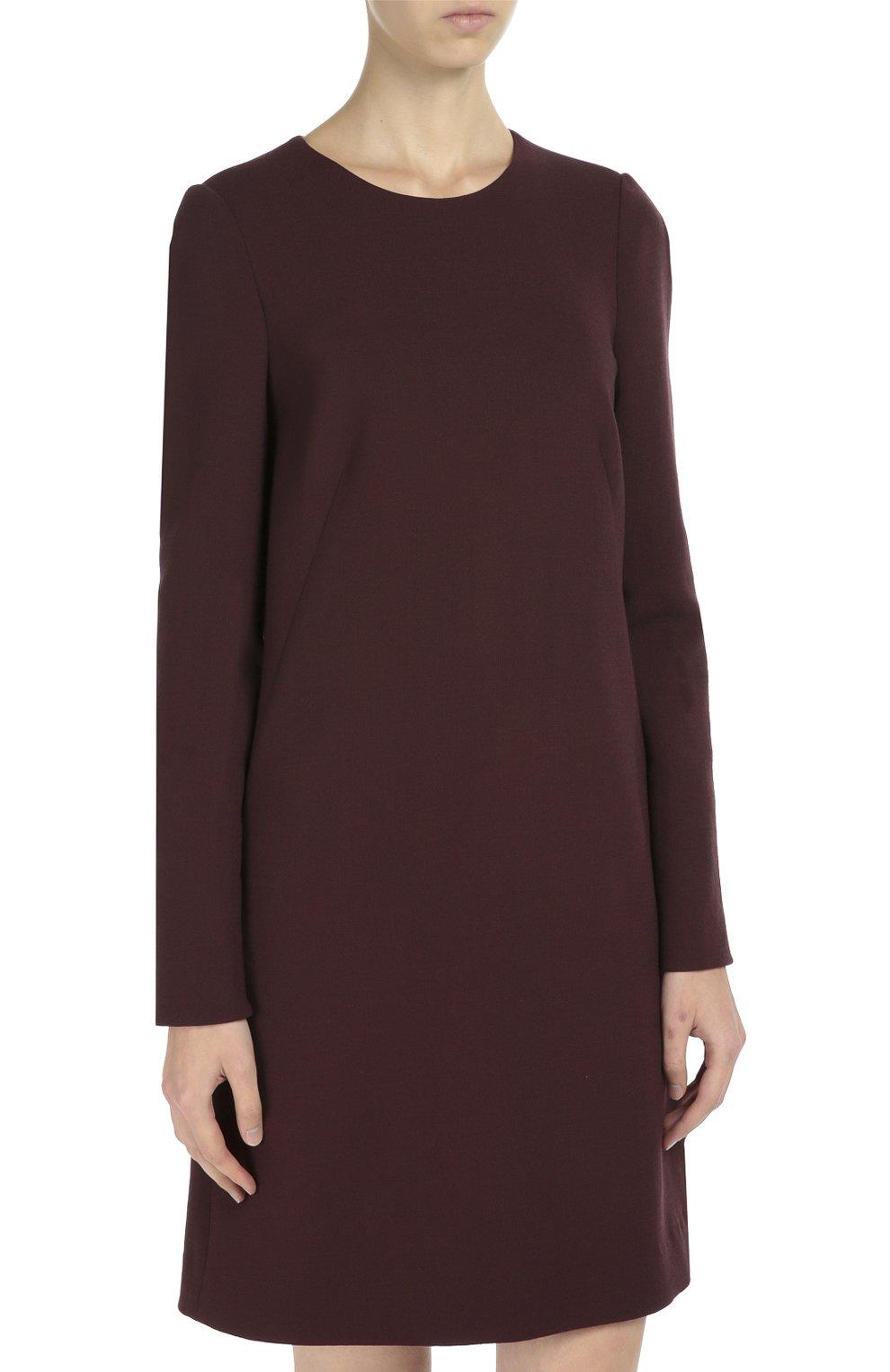 Шерстяное платье А-образного силуэта с длинными рукавами Dolce & Gabbana бордовое | Фото №3