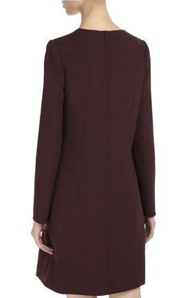 Шерстяное платье А-образного силуэта с длинными рукавами Dolce & Gabbana бордовое | Фото №4