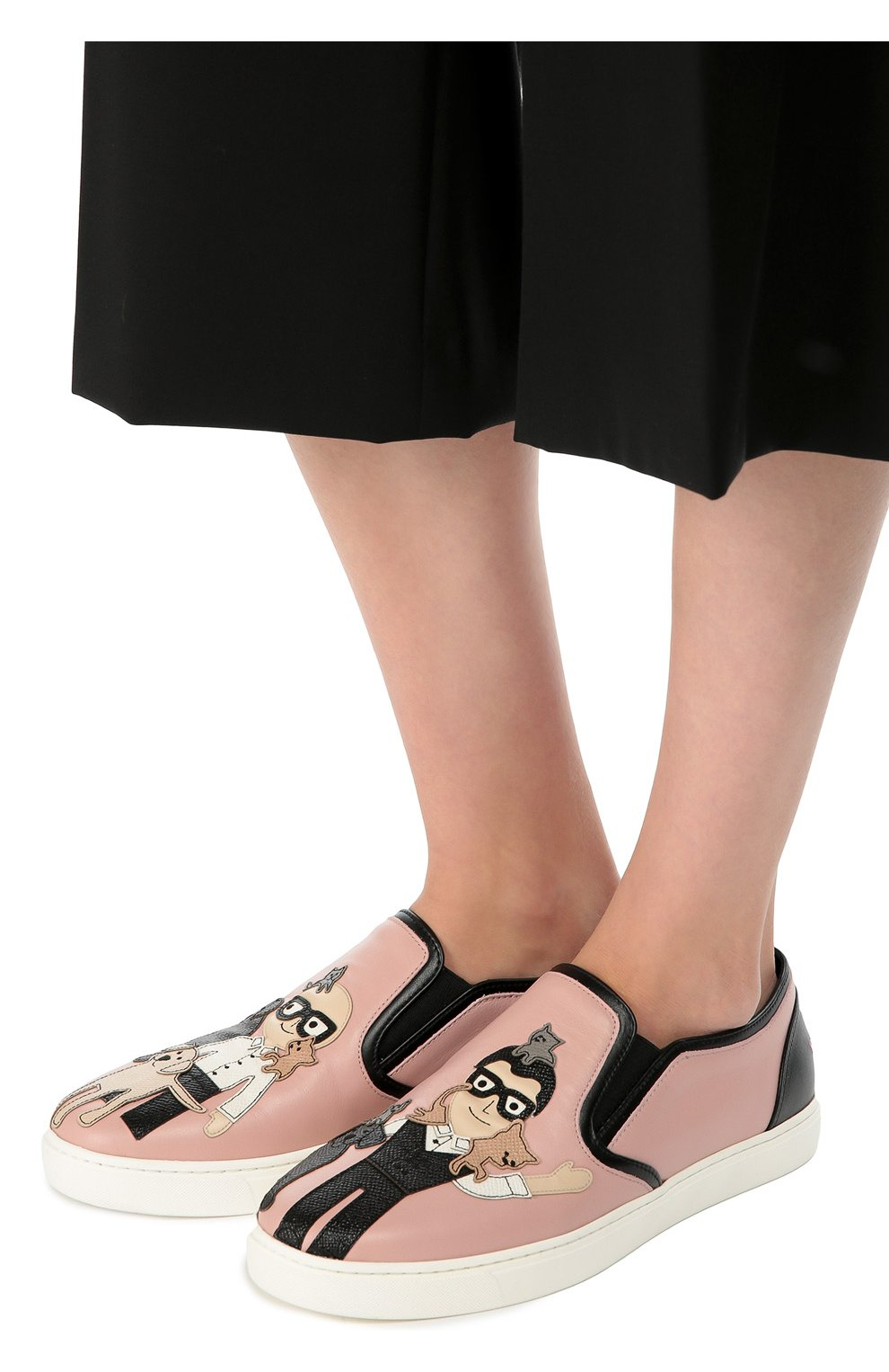 Кожаные слипоны London с аппликациями Dolce & Gabbana розовые | Фото №2