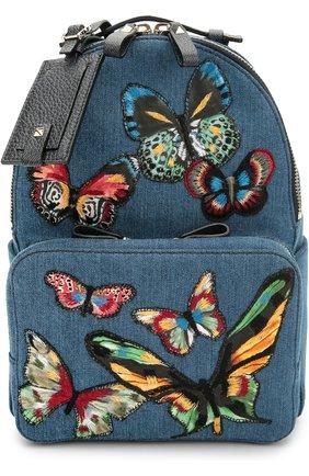Рюкзак из денима с вышивкой в виде бабочек | Фото №1