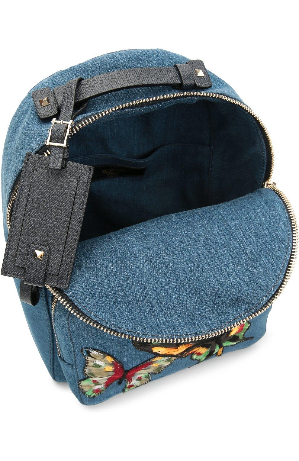 Рюкзак из денима с вышивкой в виде бабочек | Фото №4