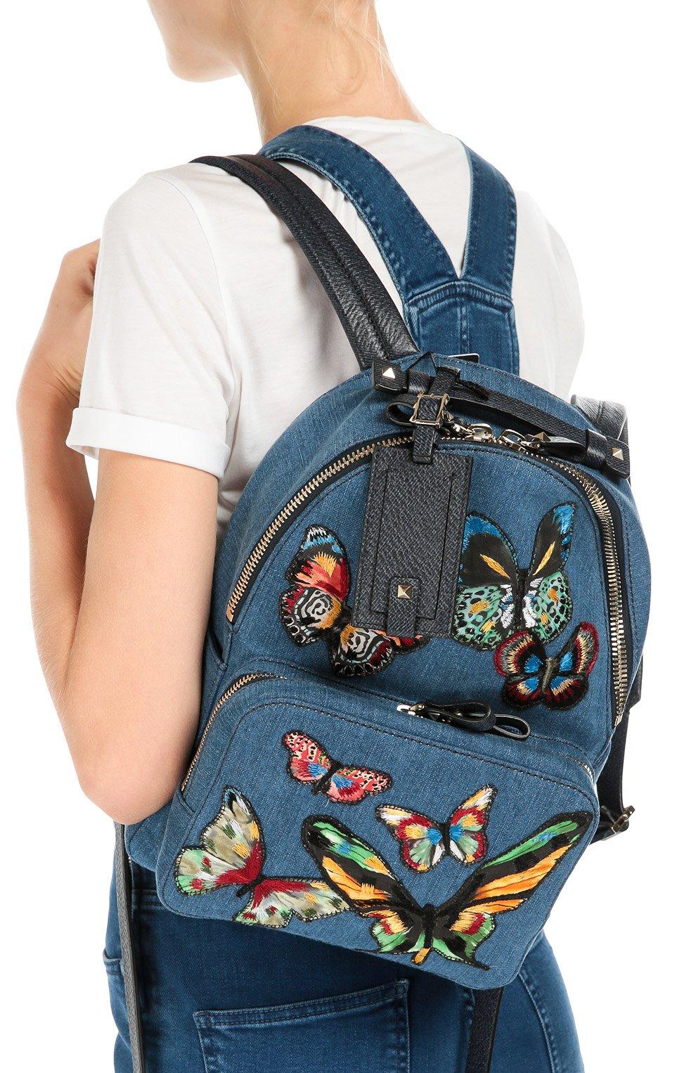Рюкзак из денима с вышивкой в виде бабочек | Фото №5