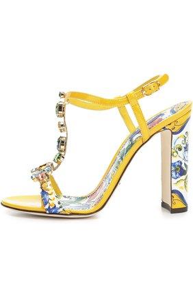Босоножки Keira с принтом Majolica Dolce & Gabbana разноцветные   Фото №1