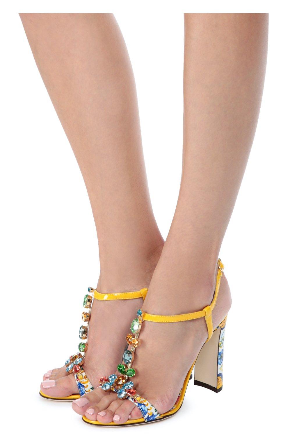 Босоножки Keira с принтом Majolica Dolce & Gabbana разноцветные   Фото №2