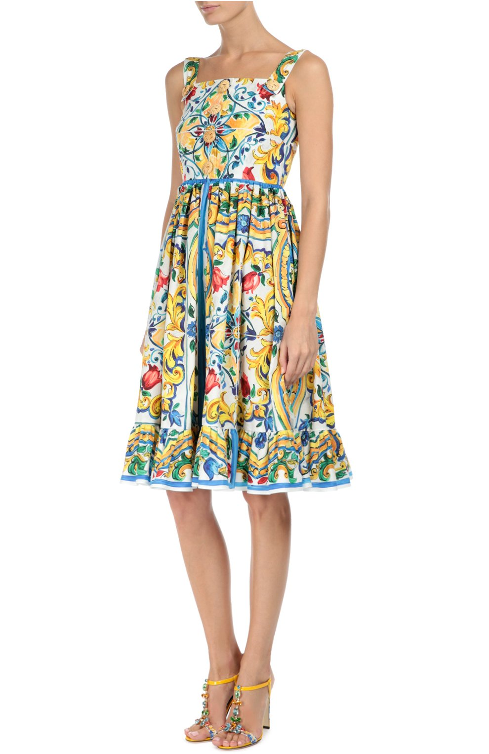 Босоножки Keira с принтом Majolica Dolce & Gabbana разноцветные   Фото №3