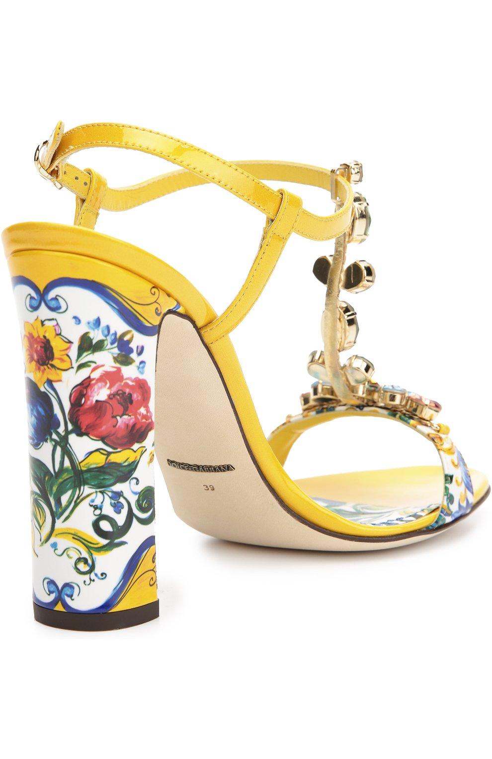 Босоножки Keira с принтом Majolica Dolce & Gabbana разноцветные   Фото №4