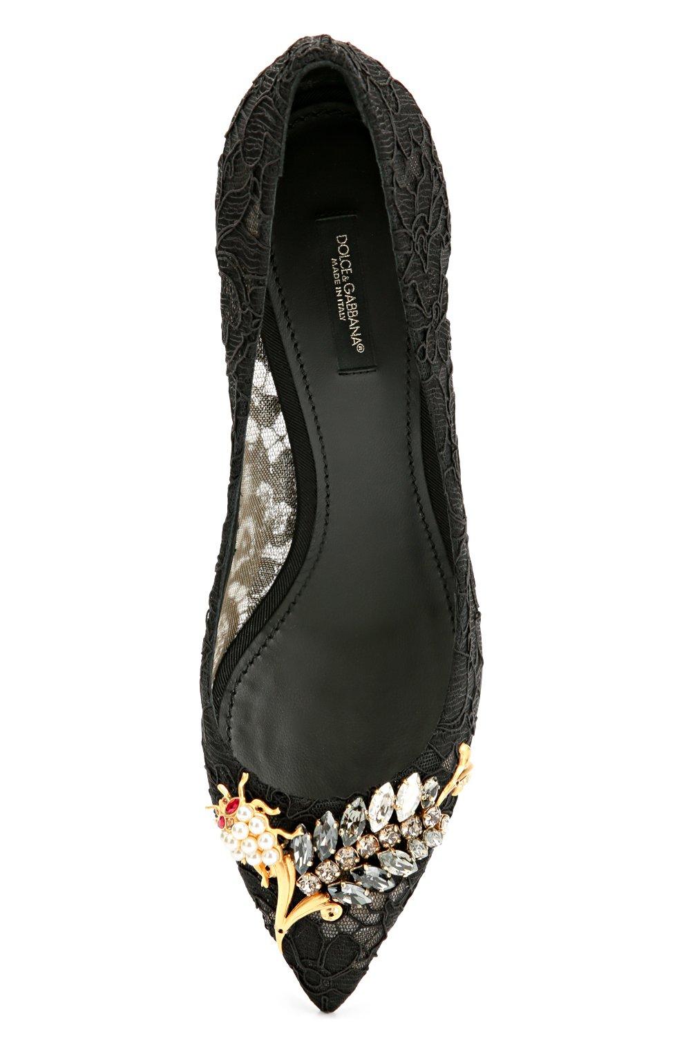 Кружевные туфли Rainbow Lace с декором Dolce & Gabbana черные | Фото №5