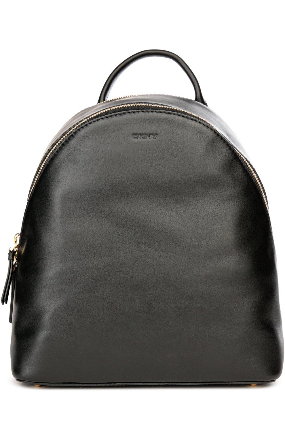 d08633a67587 Женский черный кожаный рюкзак DKNY — купить за 36950 руб. в интернет ...