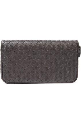 Мужской кожаное портмоне с плетением intrecciato BOTTEGA VENETA темно-коричневого цвета, арт. 311263/V4651   Фото 1