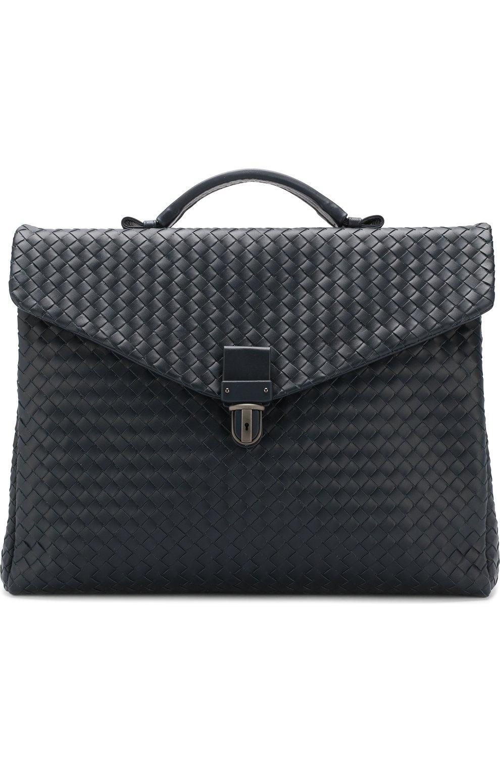Мужской кожаный портфель с плетением intrecciato BOTTEGA VENETA темно-синего цвета, арт. 122139/V4651 | Фото 1