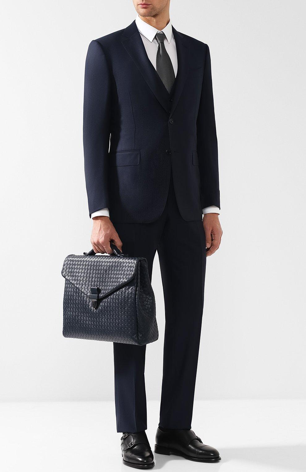 Мужской кожаный портфель с плетением intrecciato BOTTEGA VENETA темно-синего цвета, арт. 122139/V4651 | Фото 2
