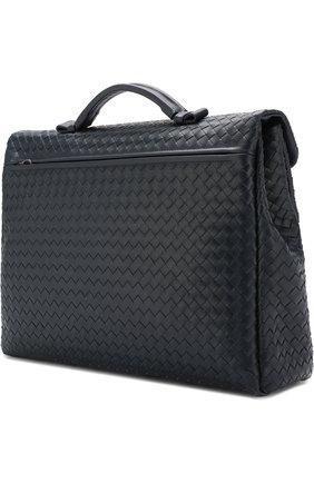 Мужской кожаный портфель с плетением intrecciato BOTTEGA VENETA темно-синего цвета, арт. 122139/V4651 | Фото 4