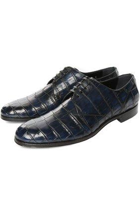 Туфли из кожи крокодила с набором аксессуаров Dolce & Gabbana синие | Фото №2