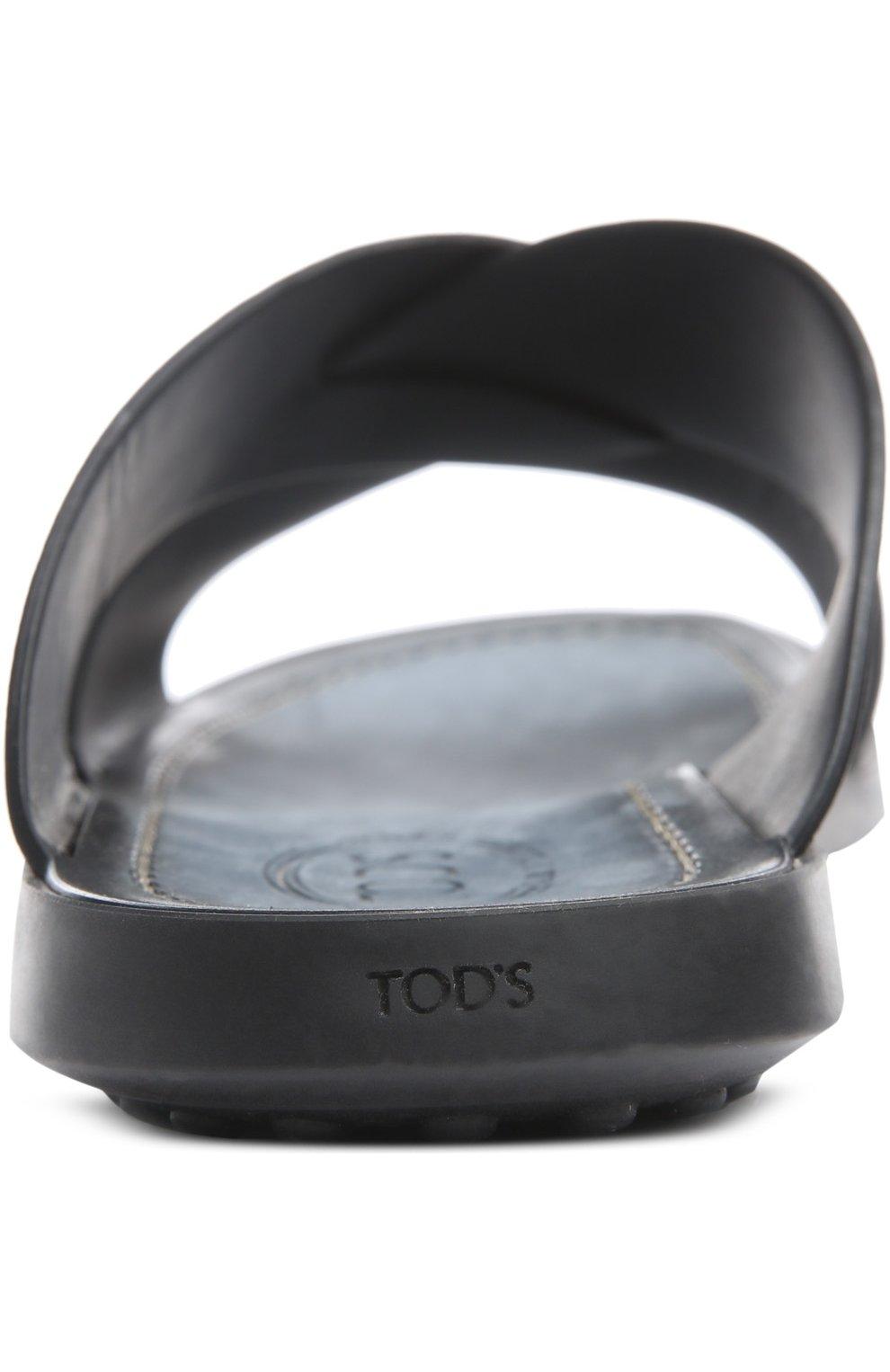 Кожаные шлепанцы на резиновой подошве Tod's черные | Фото №3