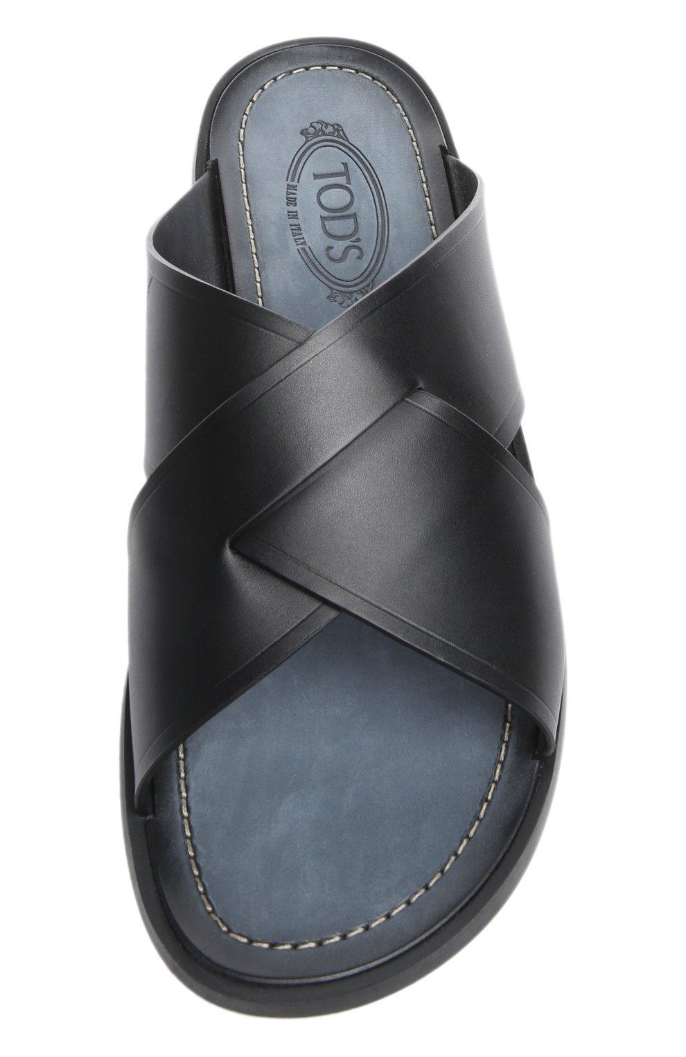 Кожаные шлепанцы на резиновой подошве Tod's черные | Фото №4