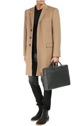 Мужской кожаный портфель BOTTEGA VENETA темно-серого цвета, арт. 354386/VQ131   Фото 2