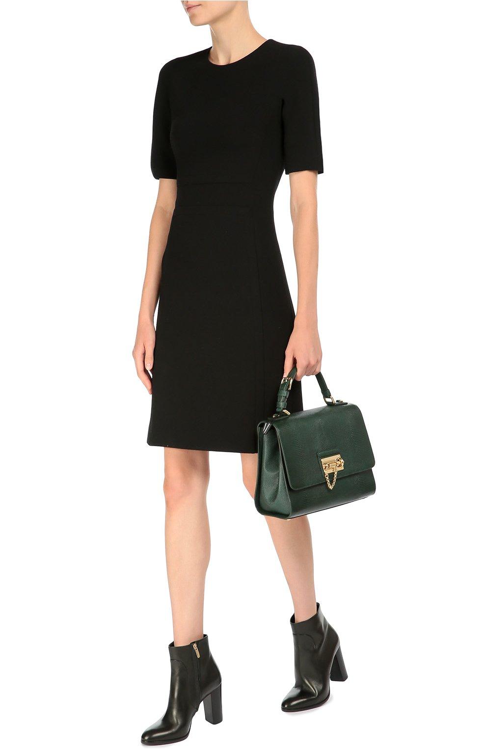 Сумка Monica с тиснением под игуану  Dolce & Gabbana зеленая цвета | Фото №2