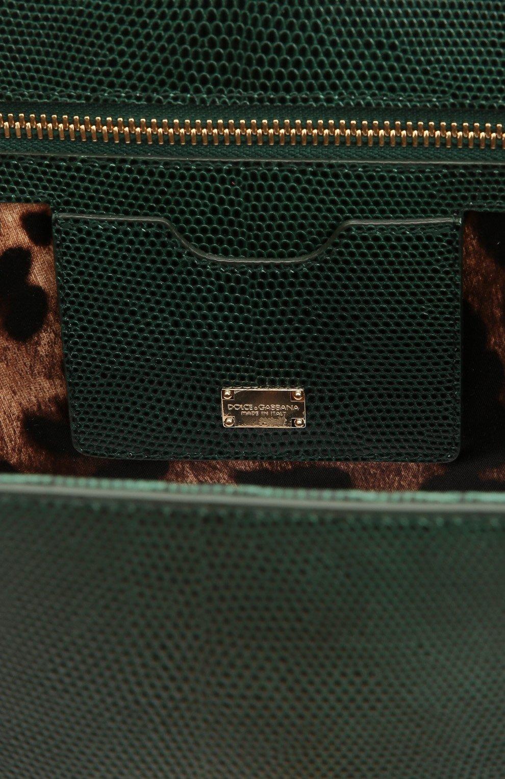 Сумка Monica с тиснением под игуану  Dolce & Gabbana зеленая цвета | Фото №4