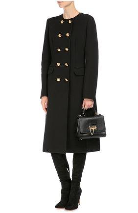 Сумка Monica small с тиснением под игуану Dolce & Gabbana черная цвета | Фото №2