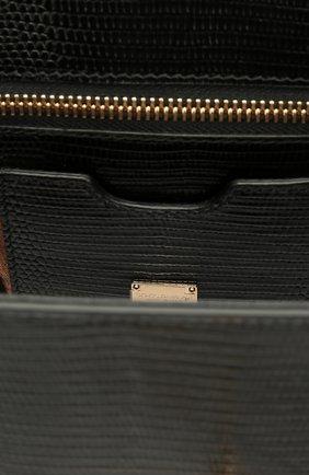 Сумка Monica small с тиснением под игуану Dolce & Gabbana черная цвета | Фото №4