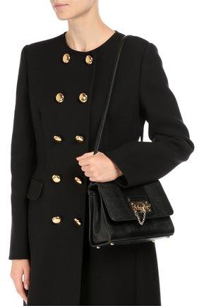 Сумка Monica small с тиснением под игуану Dolce & Gabbana черная цвета | Фото №5