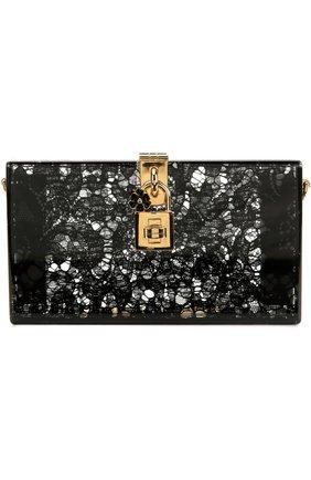 Клатч Dolce Box с кружевом Dolce & Gabbana черного цвета | Фото №1