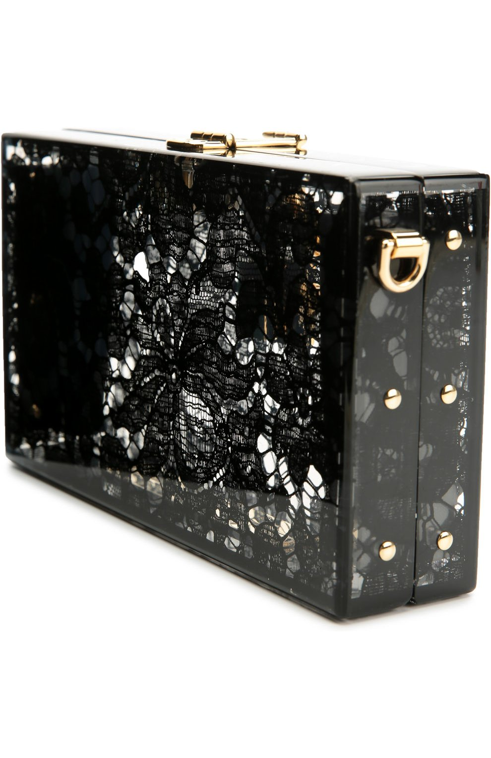 Клатч Dolce Box с кружевом Dolce & Gabbana черного цвета | Фото №3