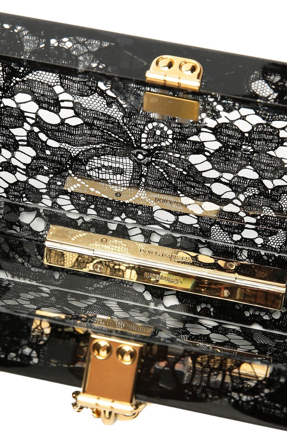 Клатч Dolce Box с кружевом Dolce & Gabbana черного цвета | Фото №4