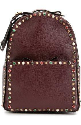 Кожаный рюкзак Valentino Garavani Rockstud Rolling с вышитым ремнем | Фото №1