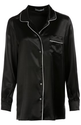 Шелковая блуза в пижамном стиле с контрастной отделкой Dolce & Gabbana черная | Фото №1