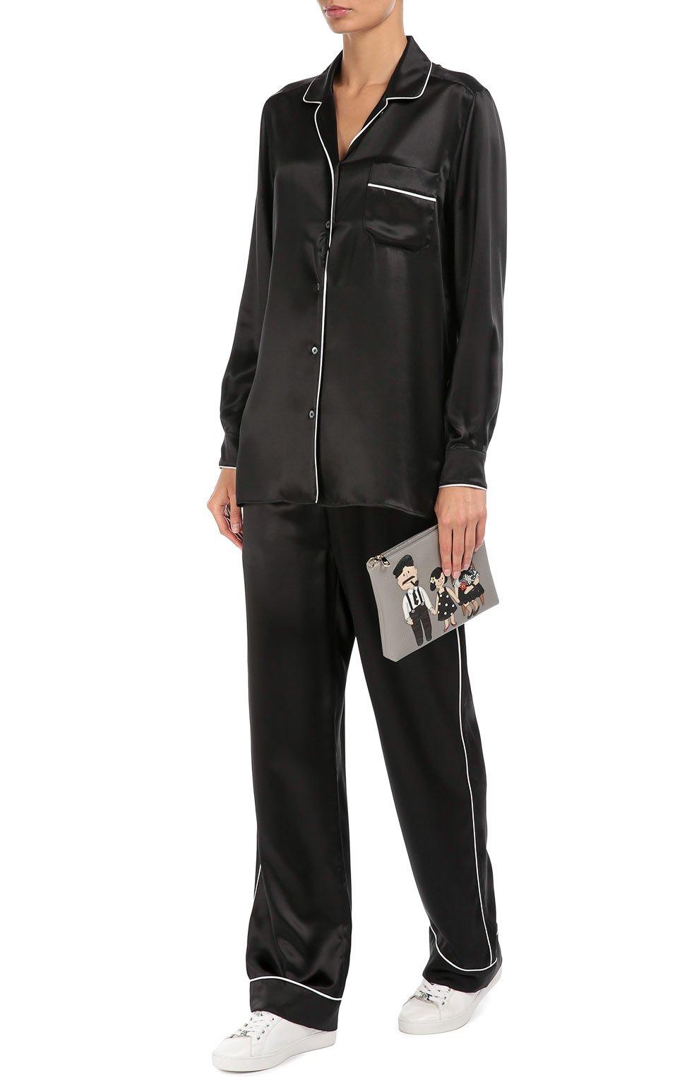 Шелковая блуза в пижамном стиле с контрастной отделкой | Фото №2