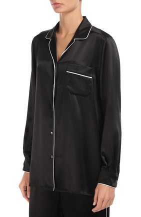 Шелковая блуза в пижамном стиле с контрастной отделкой Dolce & Gabbana черная | Фото №3