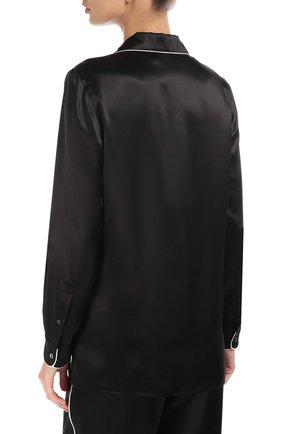 Шелковая блуза в пижамном стиле с контрастной отделкой Dolce & Gabbana черная | Фото №4
