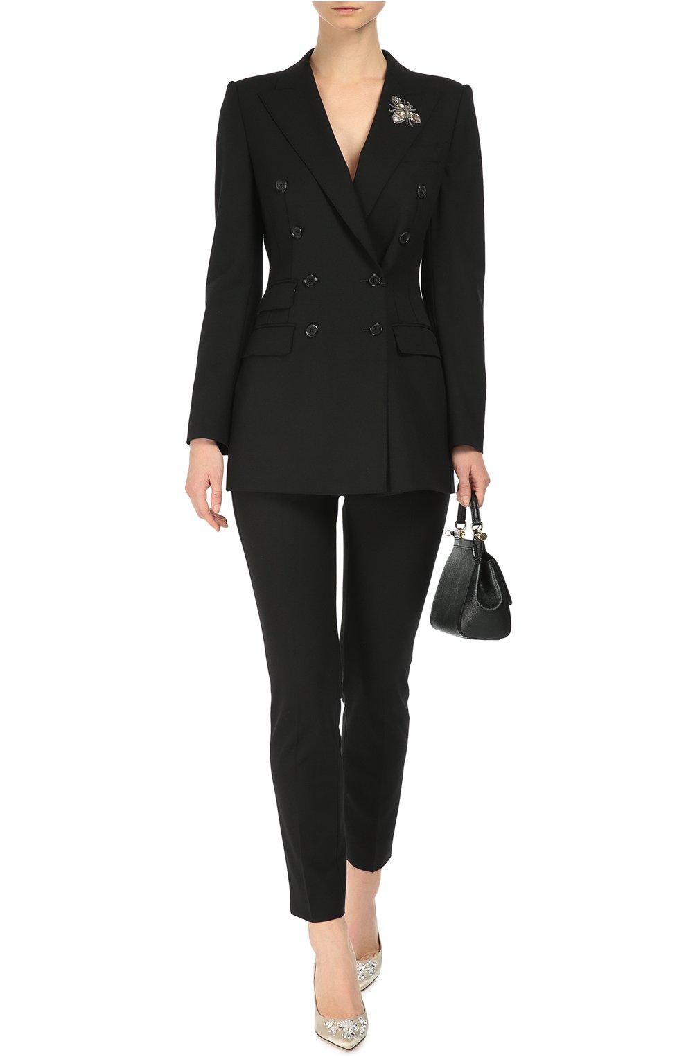 Укороченные брюки прямого кроя с карманами Dolce & Gabbana черные | Фото №2