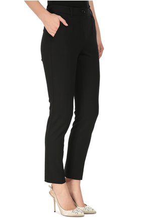 Укороченные брюки прямого кроя с карманами Dolce & Gabbana черные | Фото №3