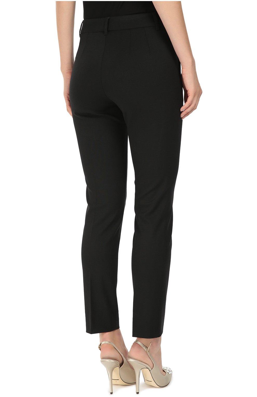 Укороченные брюки прямого кроя с карманами Dolce & Gabbana черные | Фото №4