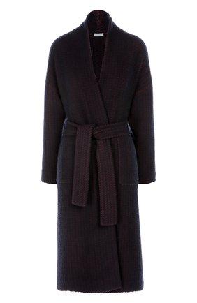 Пальто прямого кроя с поясом и накладными карманами malo бордового цвета | Фото №1